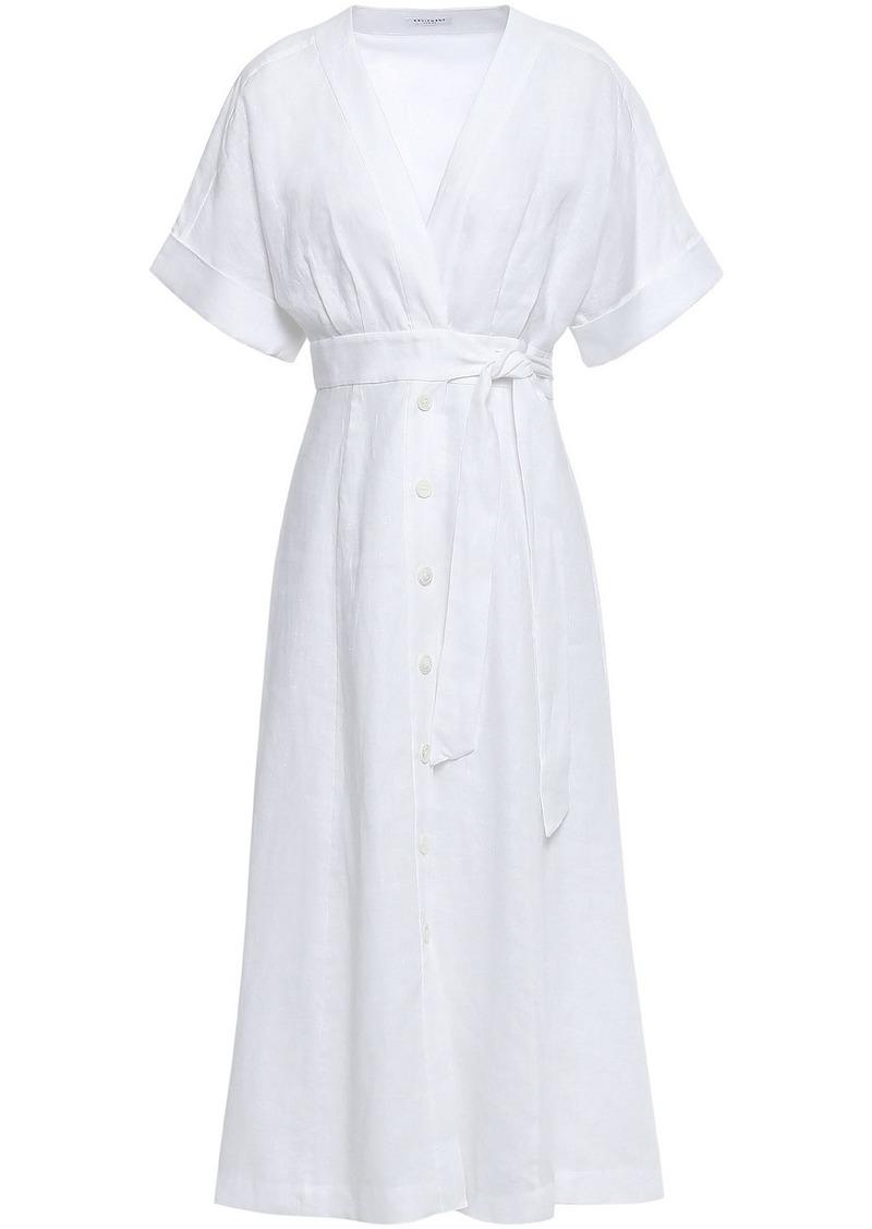Equipment Woman Nauman Belted Linen Midi Dress White