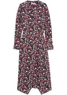 Equipment Woman Neema Wrap-effect Floral-print Crepe De Chine Dress Black