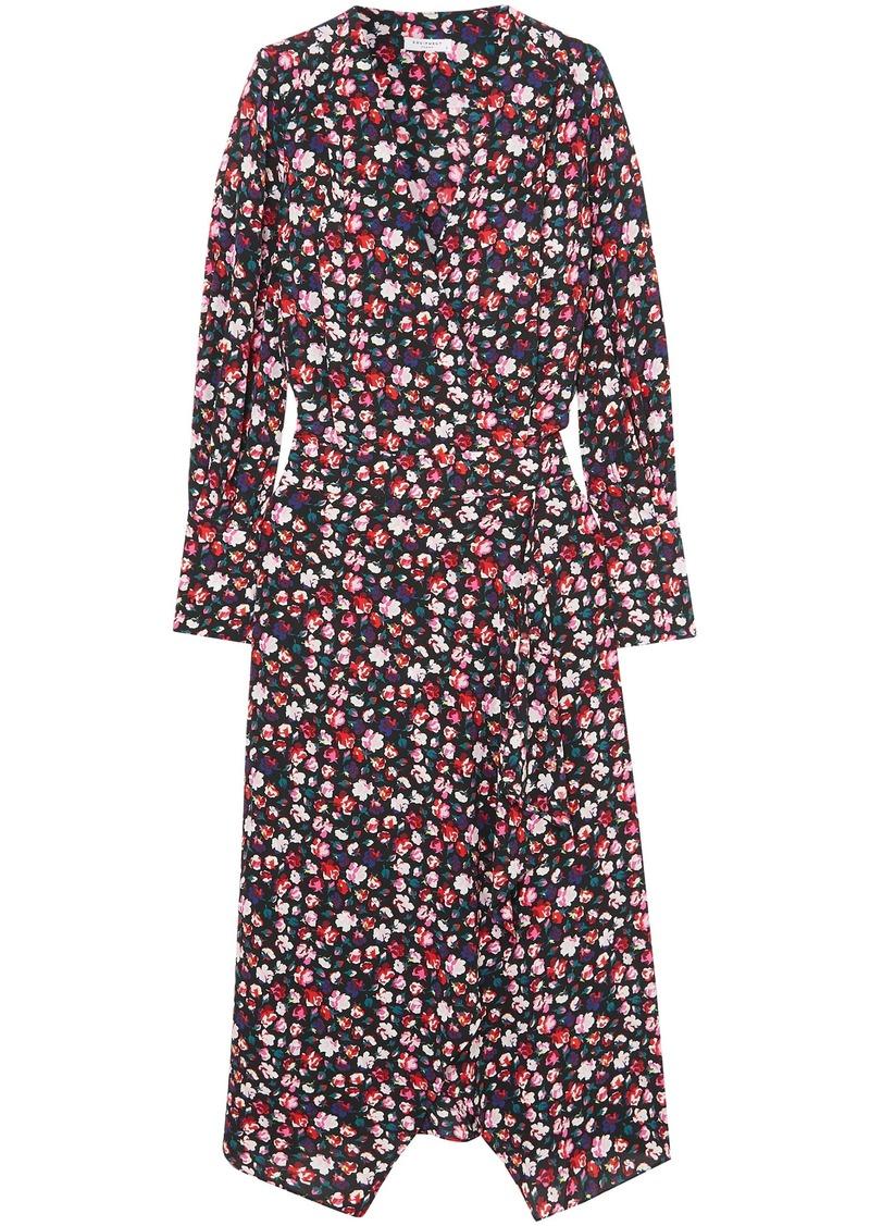 Equipment Woman Neema Wrap-effect Floral-print Crepe De Chine Dress Black
