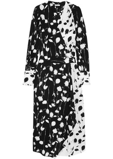 Equipment Woman Neema Wrap-effect Printed Crepe De Chine Midi Dress Black