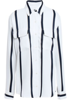 Equipment Woman New Signature Striped Washed-twill Shirt White