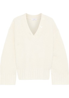 Equipment Woman Nigel Button-detailed Ribbed Wool And Cashmere-blend Sweater Ivory