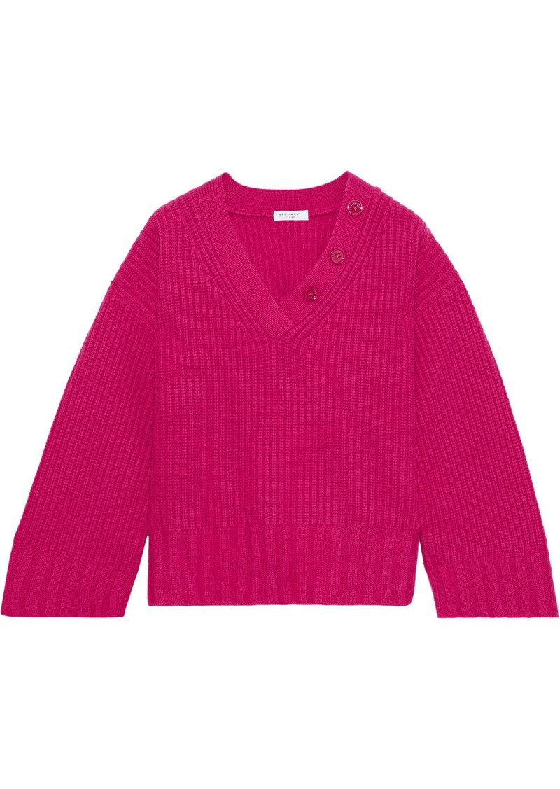 Equipment Woman Nigel Button-detailed Ribbed Wool And Cashmere-blend Sweater Fuchsia