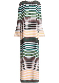 Equipment Woman Niko Striped Washed-silk Maxi Dress Peach