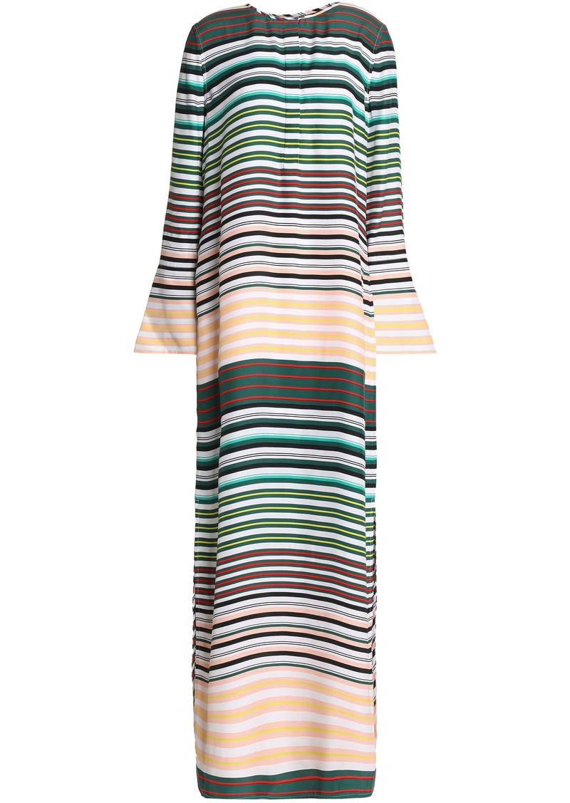Equipment Woman Niko Striped Washed-silk Maxi Dress Peach