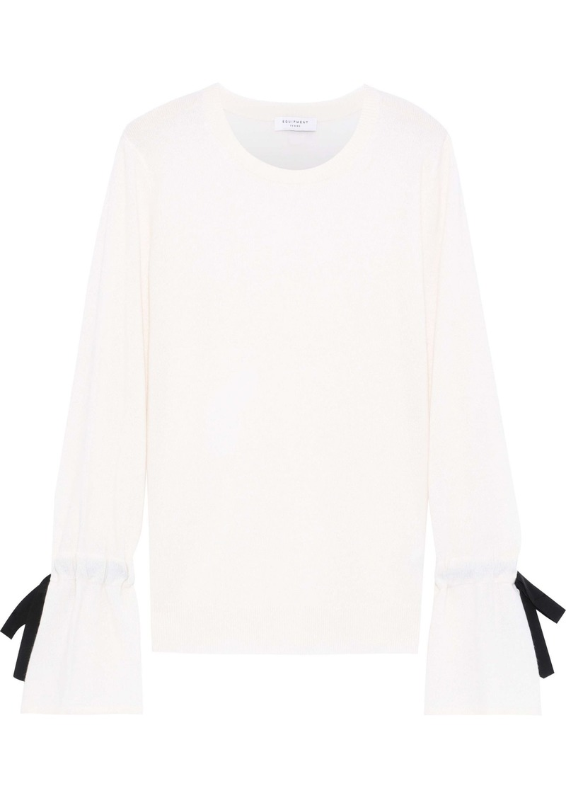 Equipment Woman Nile Tie-detailed Cashmere Sweater Ivory