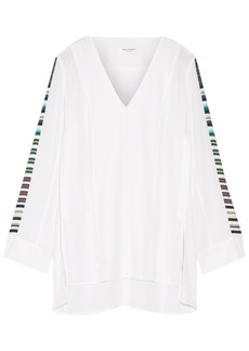 Equipment Woman Norma Striped Washed-silk Tunic Off-white