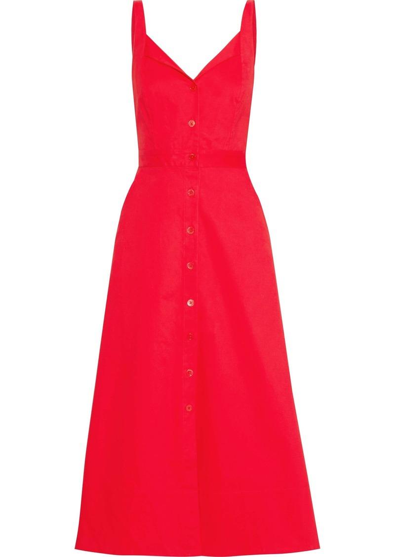 Equipment Woman Oleisa Stretch-cotton Poplin Midi Dress Red