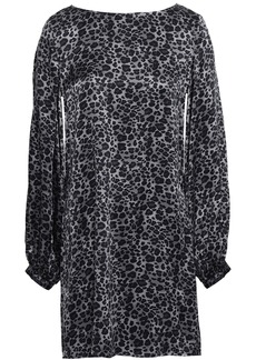 Equipment Woman Open-back Leopard-print Silk-satin Mini Dress Gunmetal