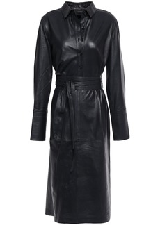 Equipment Woman Orelie Belted Leather Dress Midnight Blue
