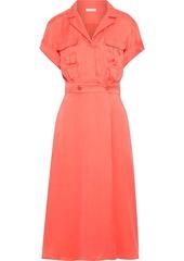 Equipment Woman Orlenna Washed Silk-blend Midi Shirt Dress Coral