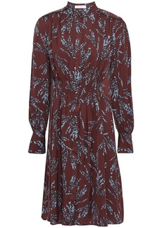 Equipment Woman Ouesse Pintucked Floral-print Satin-jacquard Dress Burgundy
