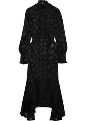 Equipment Woman Palo Belted Fil Coupé Silk-blend Chiffon Midi Dress Black