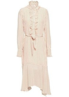 Equipment Woman Palo Ruffle-trimmed Polka-dot Silk Crepe De Chine Midi Dress Pastel Pink