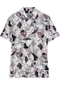 Equipment Woman Paulette Printed Washed-silk Shirt Off-white