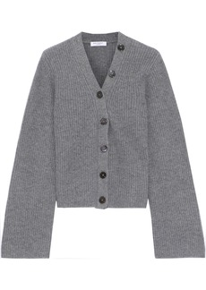 Equipment Woman Paz Button-detailed Ribbed Cashmere Cardigan Anthracite