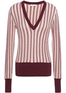 Equipment Woman Pierette Striped Pointelle-knit Silk And Cotton-blend Sweater Pastel Pink