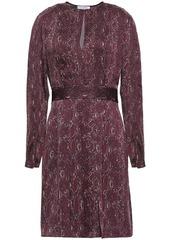 Equipment Woman Pleated Printed Satin Mini Dress Burgundy