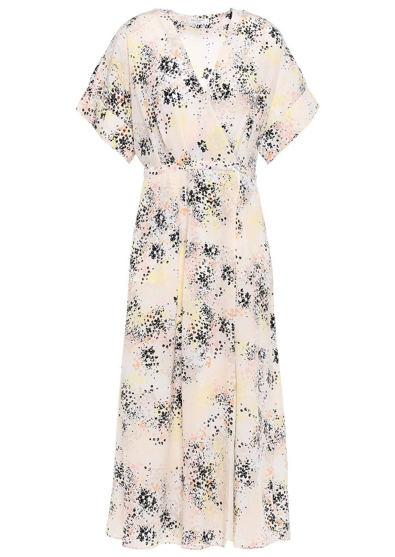Equipment Woman Pleated Printed Silk-crepe Midi Wrap Dress Ecru