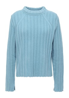 Equipment Woman Pointelle-trimmed Ribbed Wool And Yak-blend Sweater Blue