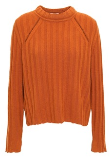 Equipment Woman Pointelle-trimmed Ribbed Wool And Yak-blend Sweater Tan
