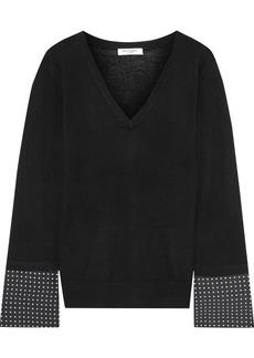 Equipment Woman Polka-dot Crepe-paneled Wool Top Black