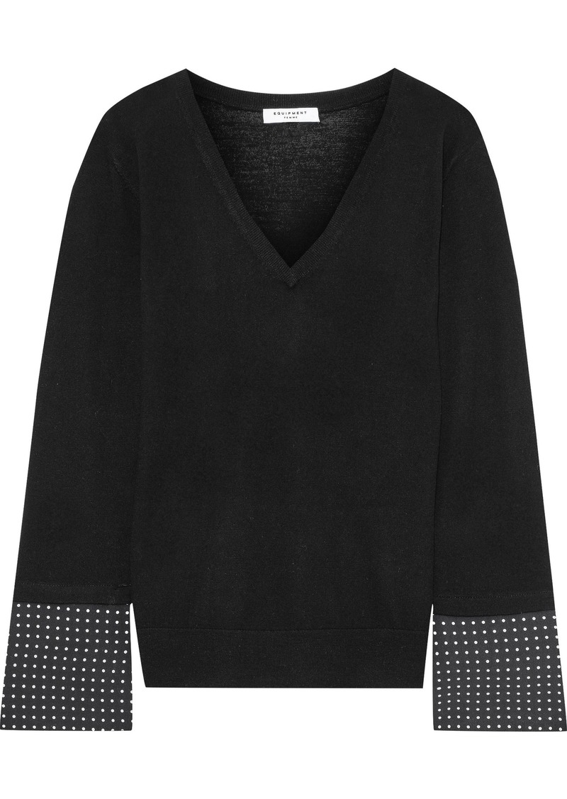 Equipment Woman Polka-dot Crepe-paneled Wool Top Black