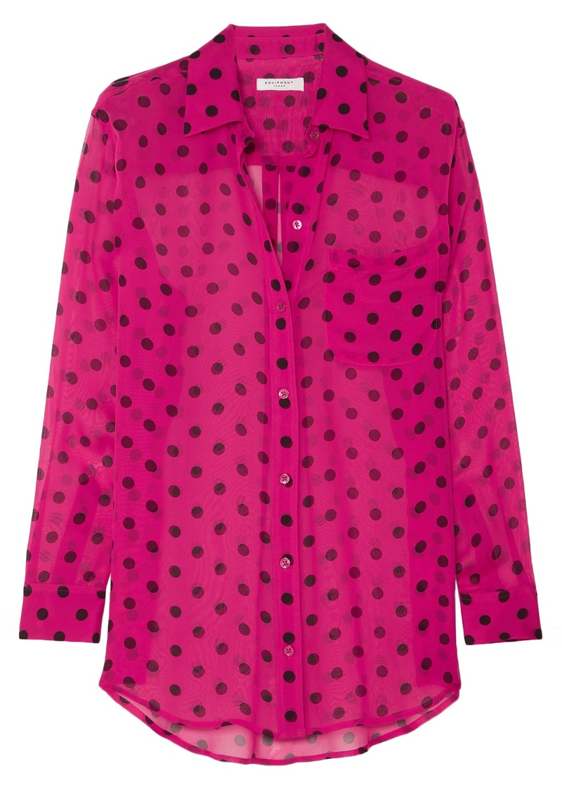 Equipment Woman Polka-dot Silk-chiffon Shirt Fuchsia