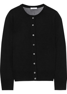 Equipment Woman Primrose Embroidered Open Knit-paneled Wool Cardigan Black