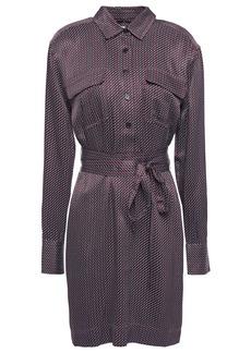 Equipment Woman Printed Satin-twill Mini Shirt Dress Plum