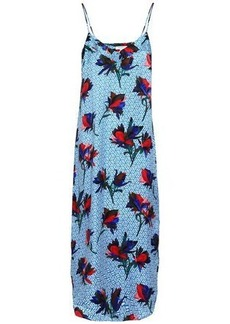 Equipment Woman Printed Silk Midi Slip Dress Blue