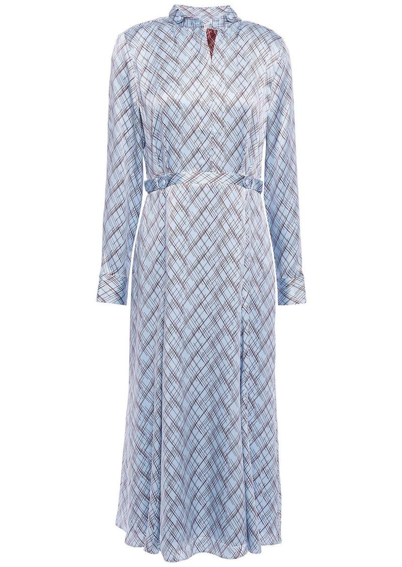 Equipment Woman Printed Silk-satin Midi Shirt Dress Light Blue