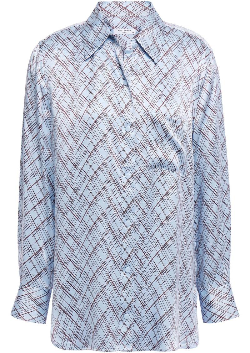 Equipment Woman Printed Silk-satin Shirt Light Blue