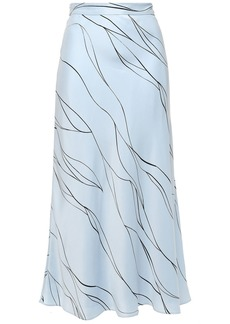 Equipment Woman Printed Washed Silk-blend Midi Skirt Light Blue