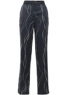 Equipment Woman Printed Washed Silk-blend Straight-leg Pants Midnight Blue