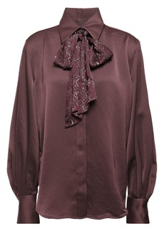 Equipment Woman Pussy-bow Printed Satin-crepe Shirt Burgundy