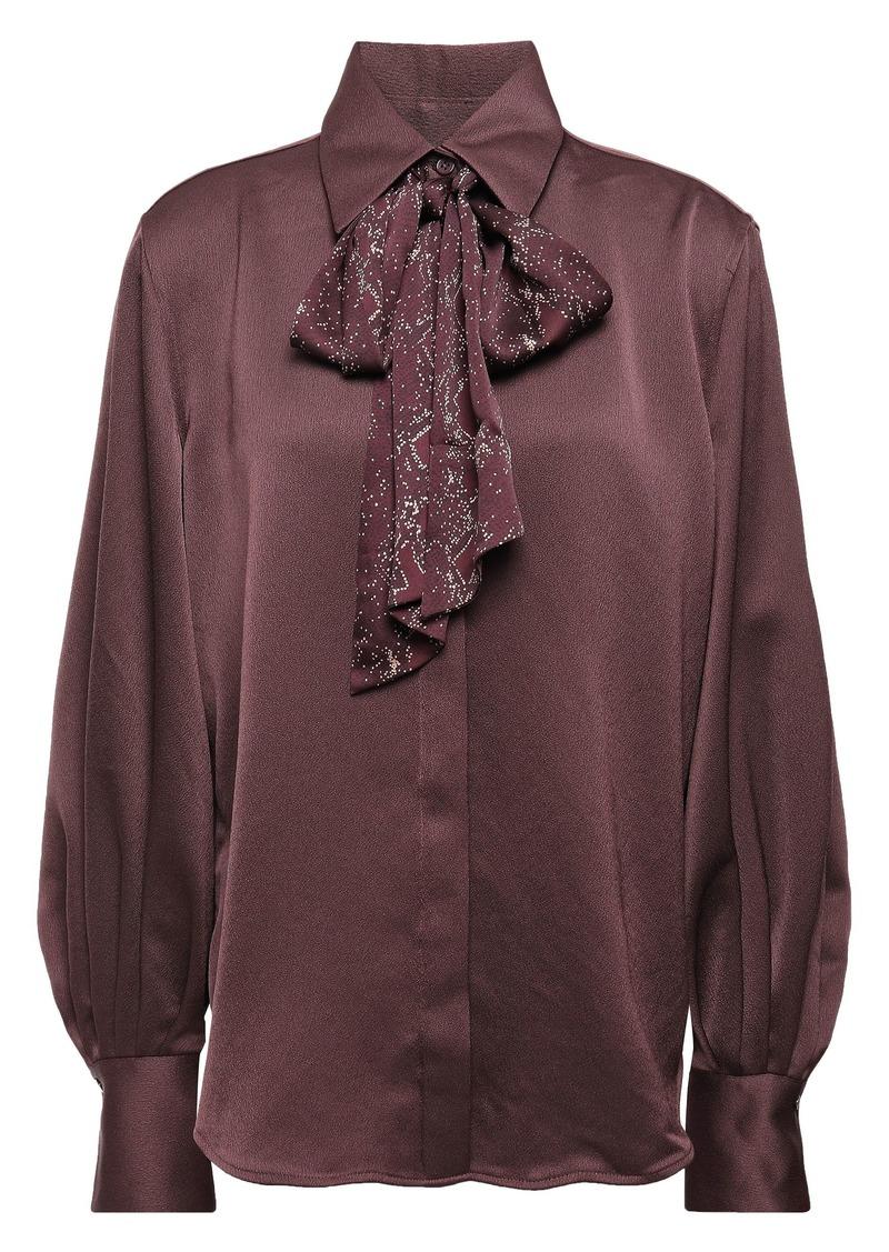 Equipment Woman Pussy-bow Printed Satin-crepe Shirt Burgundy