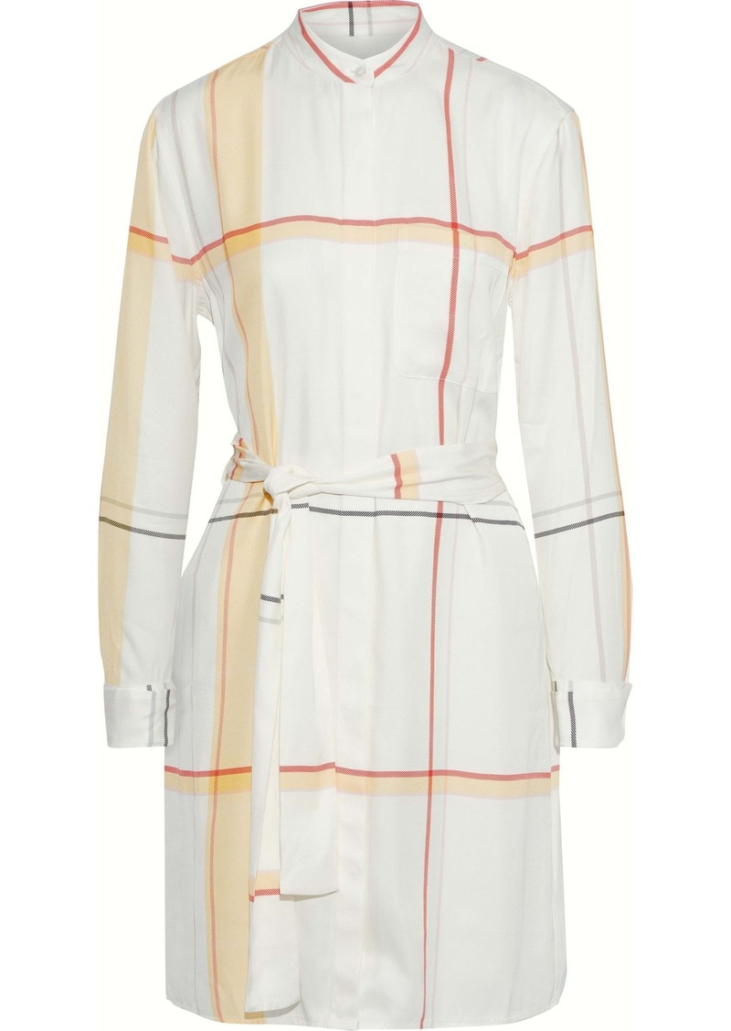 Equipment Woman Ravena Checked Washed-twill Mini Shirt Dress Ivory