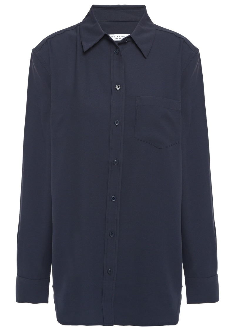 Equipment Woman Reese Washed-crepe Shirt Midnight Blue