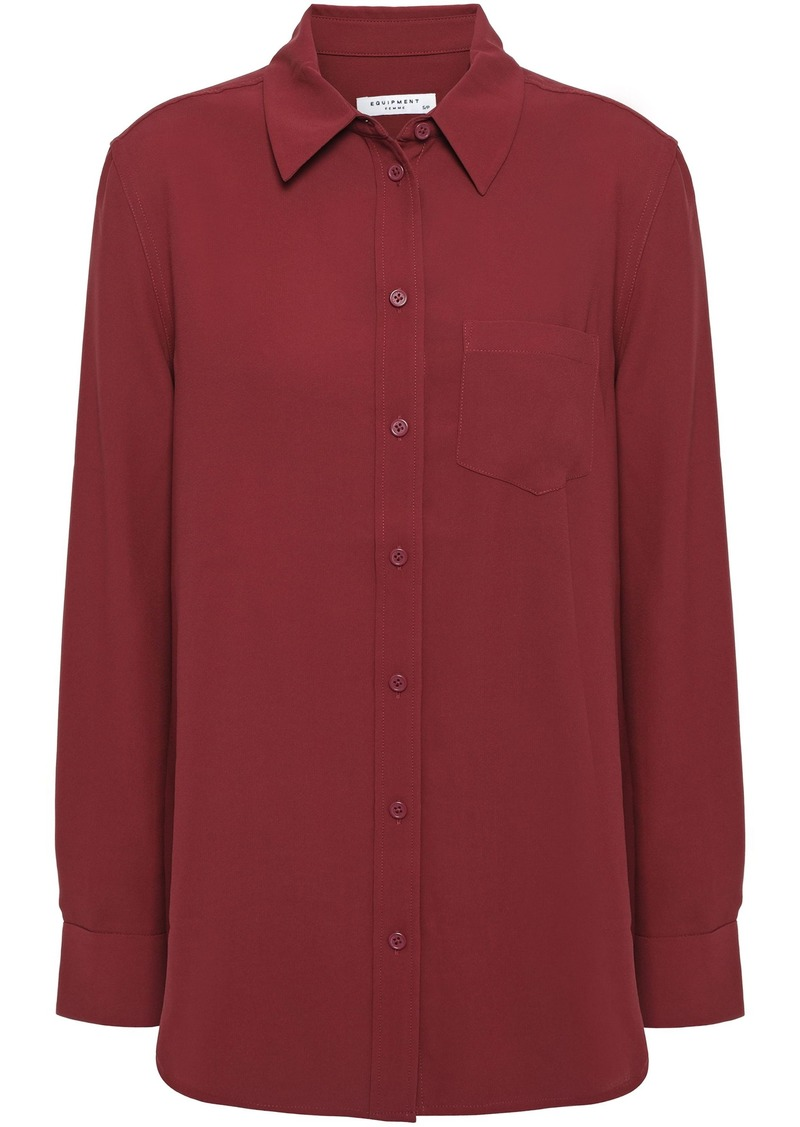 Equipment Woman Reese Washed-crepe Shirt Brick
