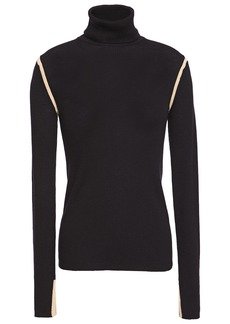 Equipment Woman Ribbed Wool Turtleneck Top Midnight Blue