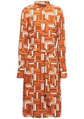 Equipment Woman Roseabelle Belted Printed Washed-crepe Shirt Dress Orange