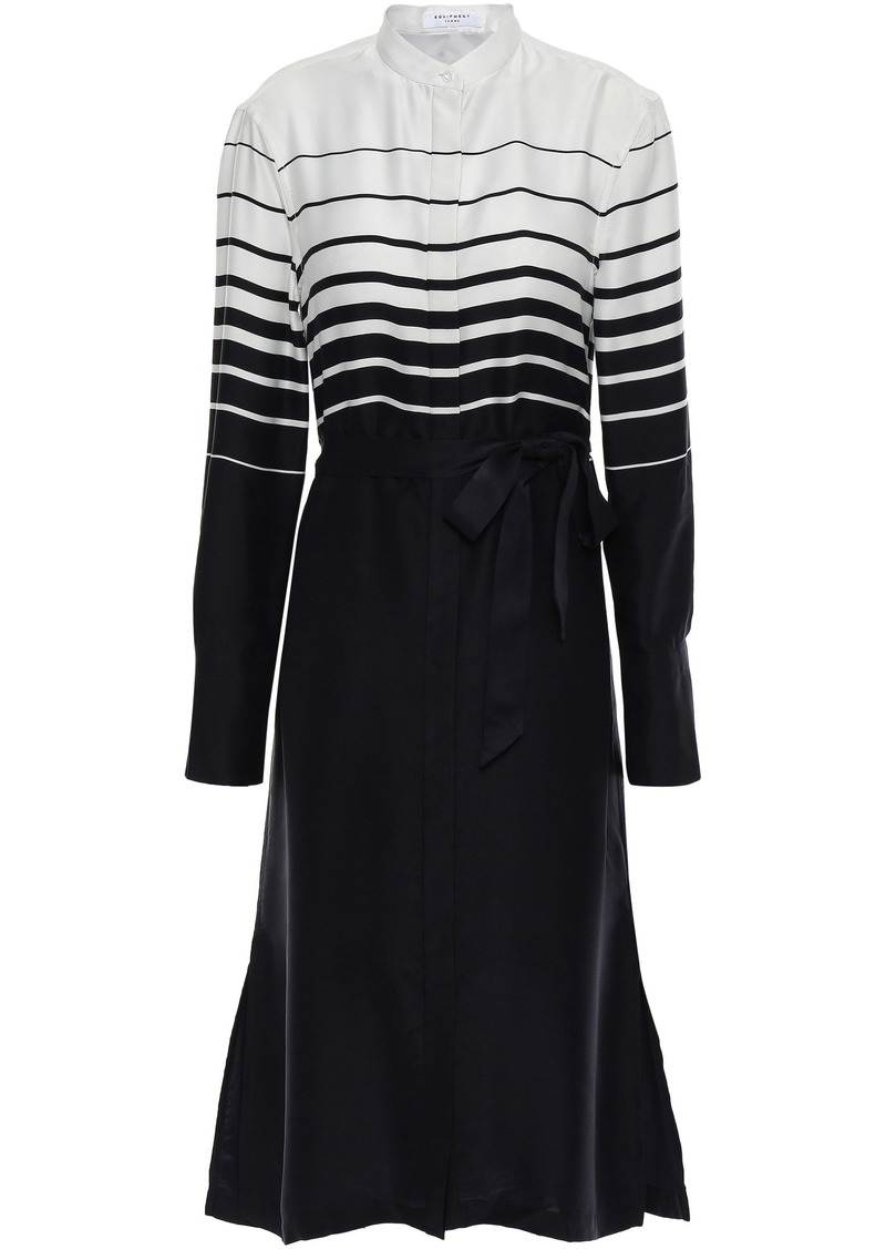 Equipment Woman Roseabelle Belted Striped Washed Silk-blend Dress Black
