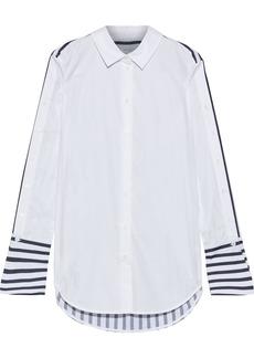 Equipment Woman Paneled Striped Cotton-poplin Shirt White