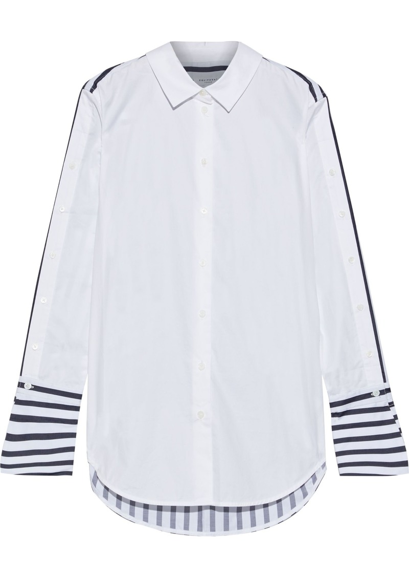 Equipment Woman Paneled Striped Cotton-poplin Shirt White