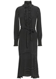 Equipment Woman Palo Ruffle-trimmed Polka-dot Silk Crepe De Chine Midi Dress Black