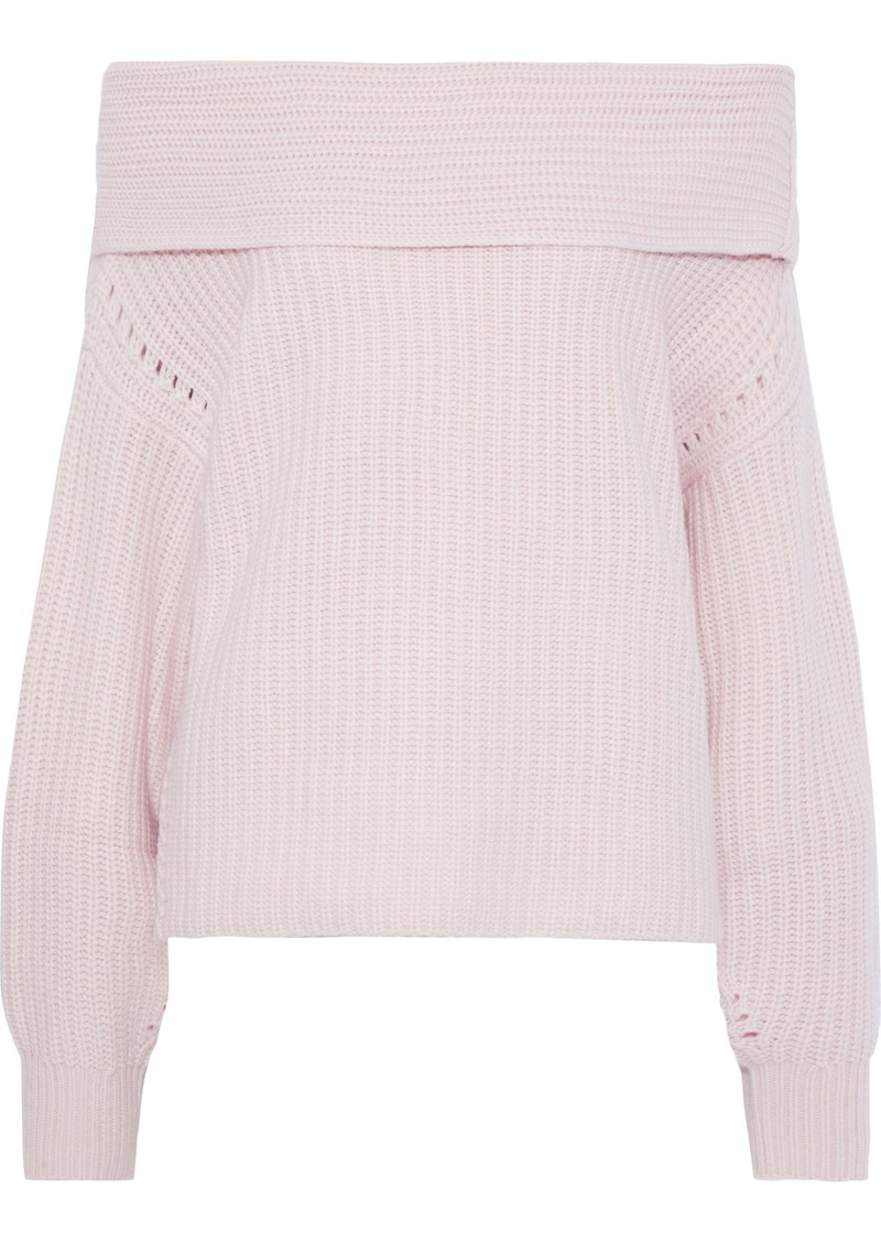 Equipment Woman Ruth Off-the-shoulder Waffle-knit Wool And Cashmere-blend Sweater Baby Pink