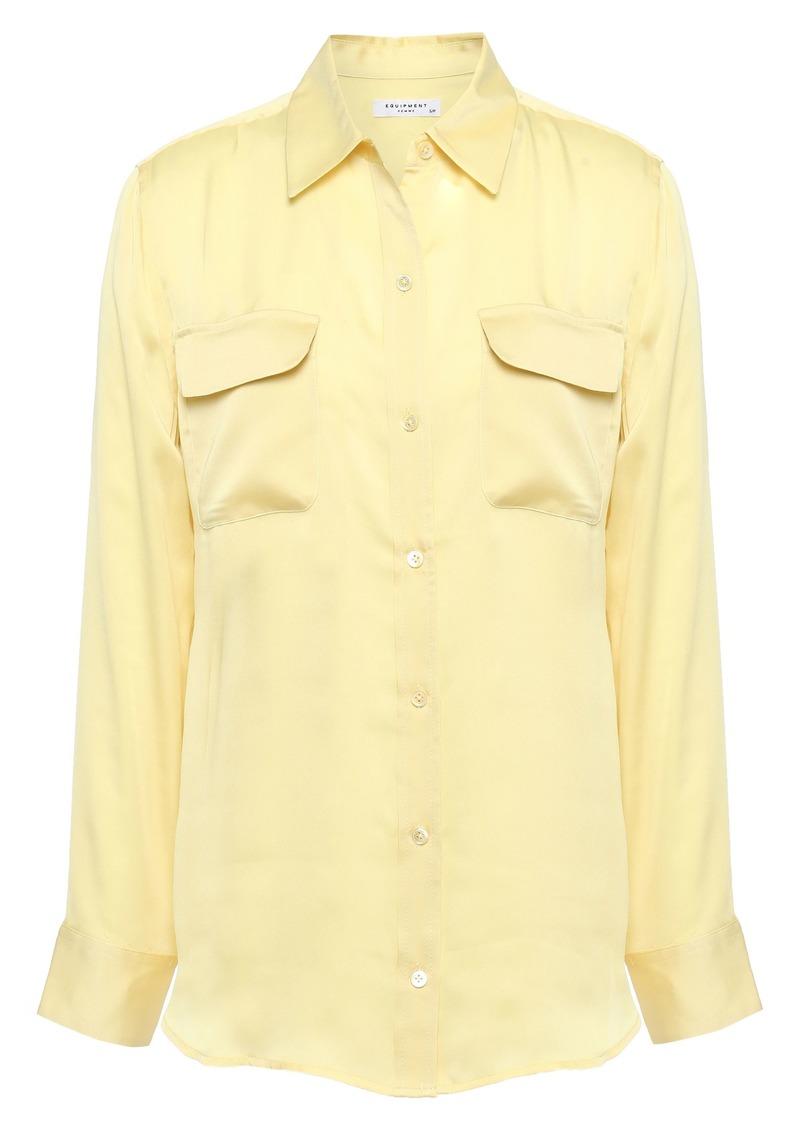 Equipment Woman Satin-crepe Shirt Pastel Yellow