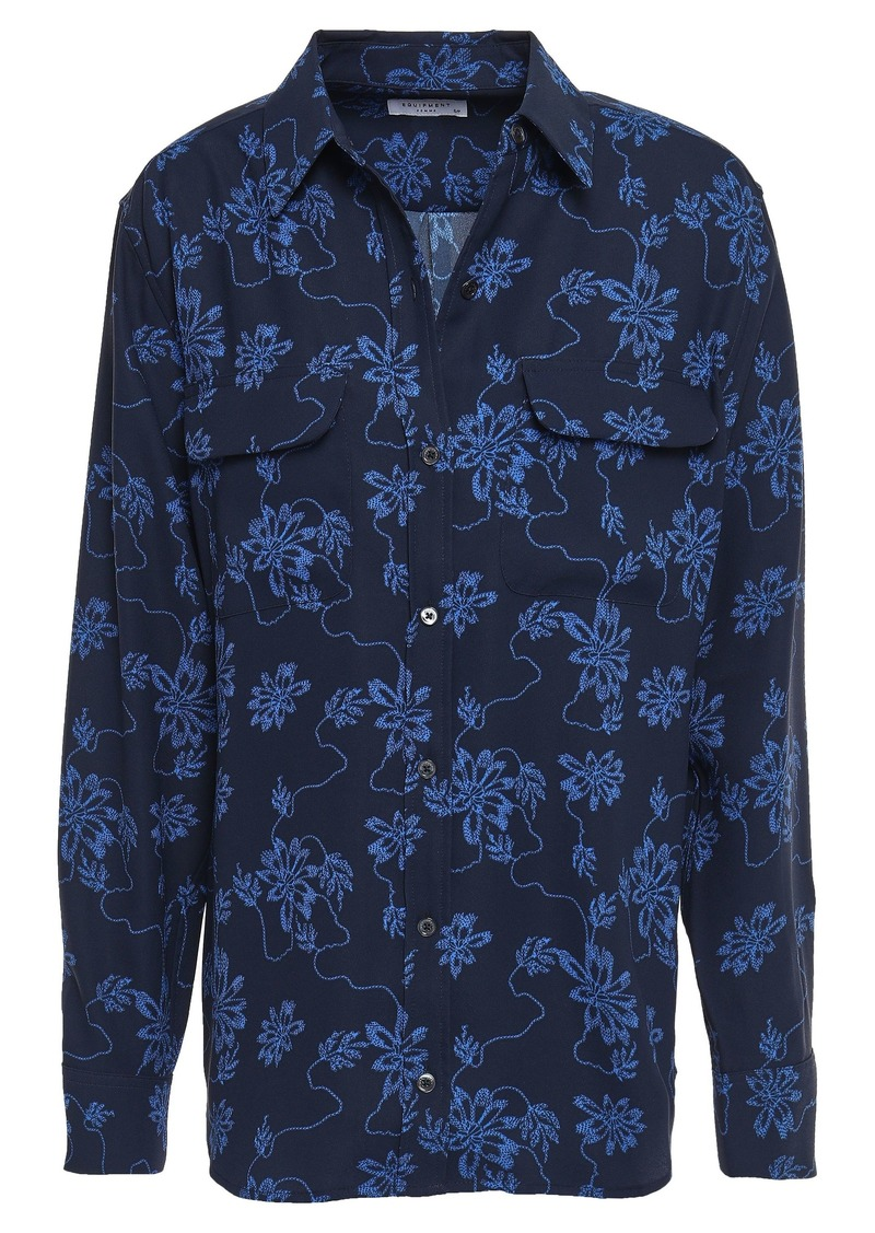 Equipment Woman Signature Floral-print Washed-crepe Shirt Midnight Blue
