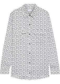 Equipment Woman Signature Printed Crepe De Chine Shirt White